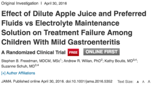 Resultat d'imatges de Effect of Dilute Apple Juice and Preferred Fluids vs Electrolyte Maintenance Solution on Treatment Failure Among Children With Mild Gastroenteritis: A Randomized Clinical Trial